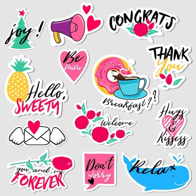 Verzameling van platte ontwerp sociale netwerk stickers Premium Vector