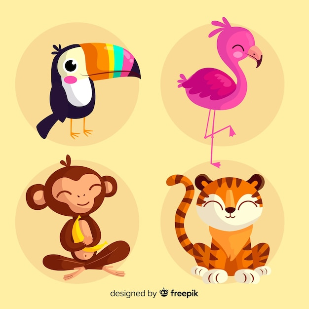 Verzameling van platte tropische dieren Premium Vector