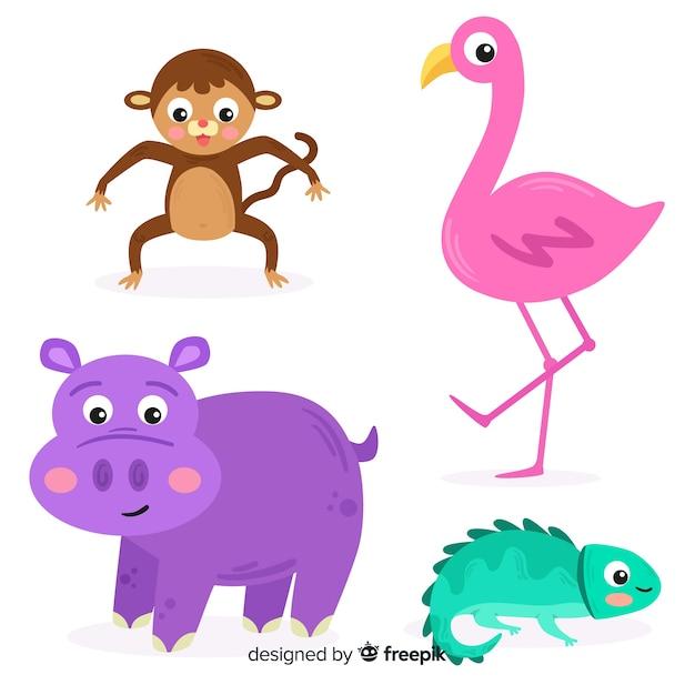 Verzameling van platte tropische dieren Gratis Vector
