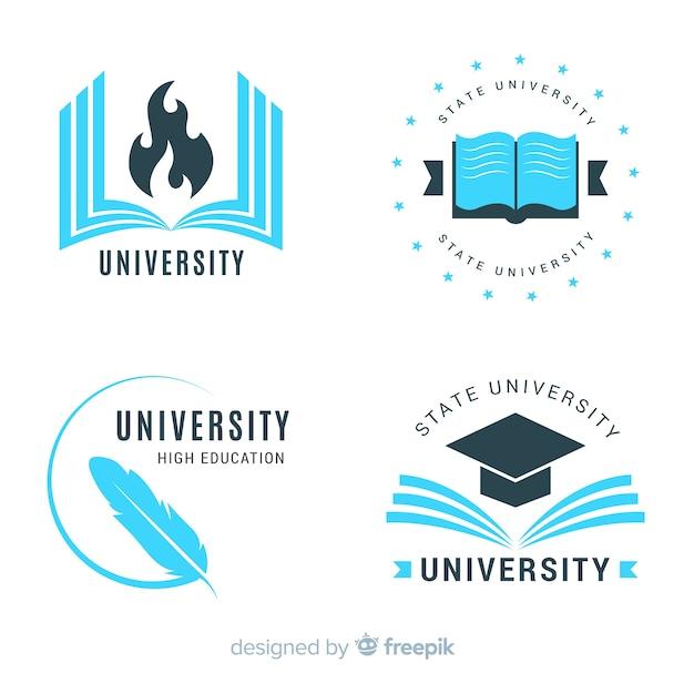 Verzameling van platte universiteitslogo's Gratis Vector