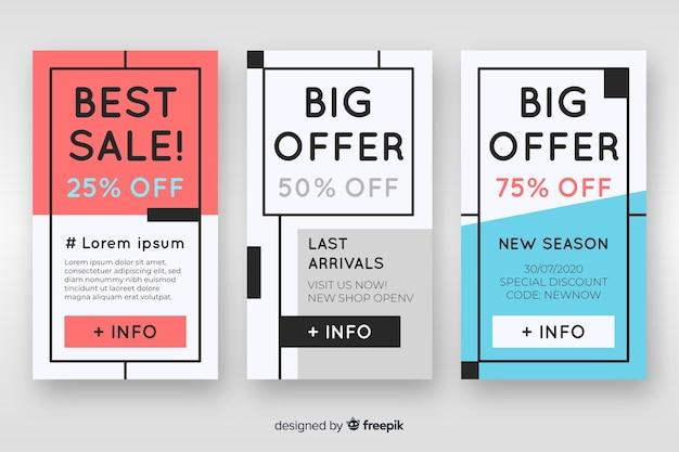 Verzameling van platte verkoop banner voor sociale media Gratis Vector