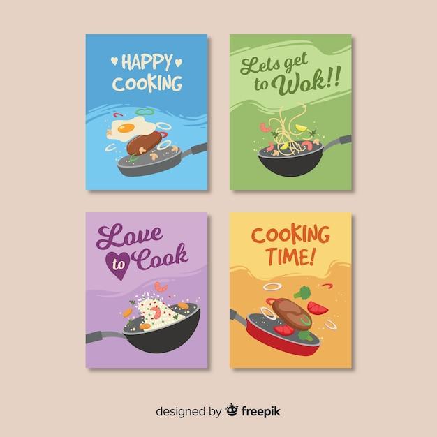 Verzameling van platte voedselkaarten Premium Vector