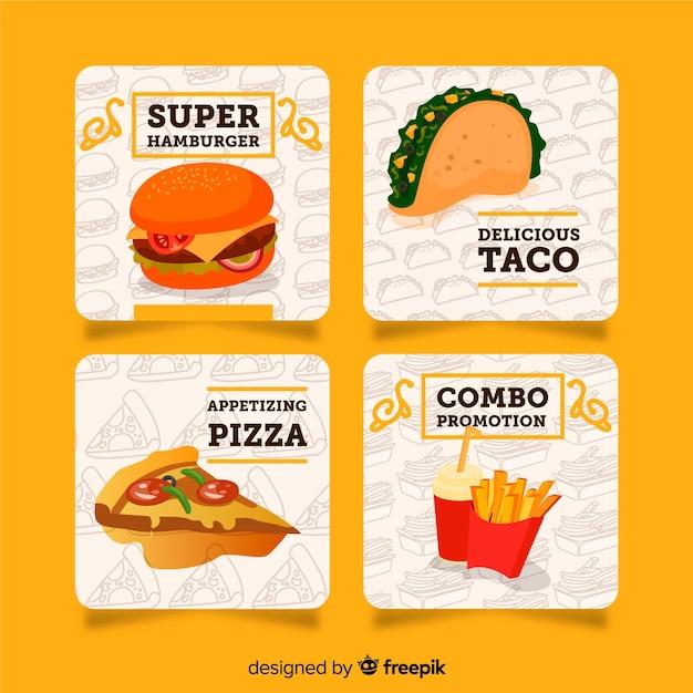 Verzameling van platte voedselkaarten Gratis Vector