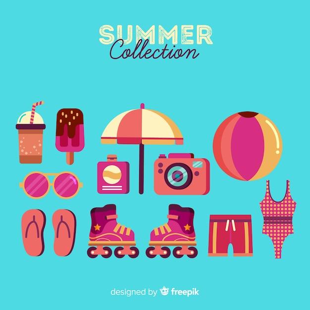 Verzameling van platte zomer elementen Gratis Vector