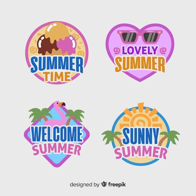 Verzameling van platte zomerlabels Gratis Vector
