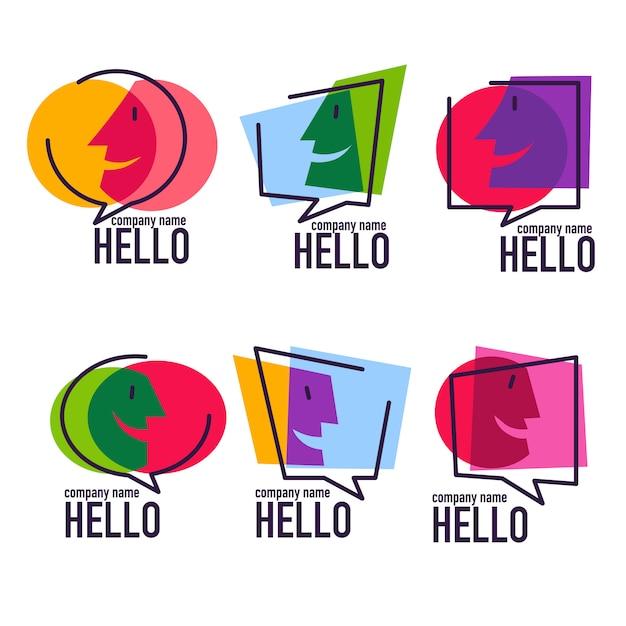 Verzameling van praten, spreken, chatten en communicatie logo, pictogrammen, tekens en symbolen Premium Vector