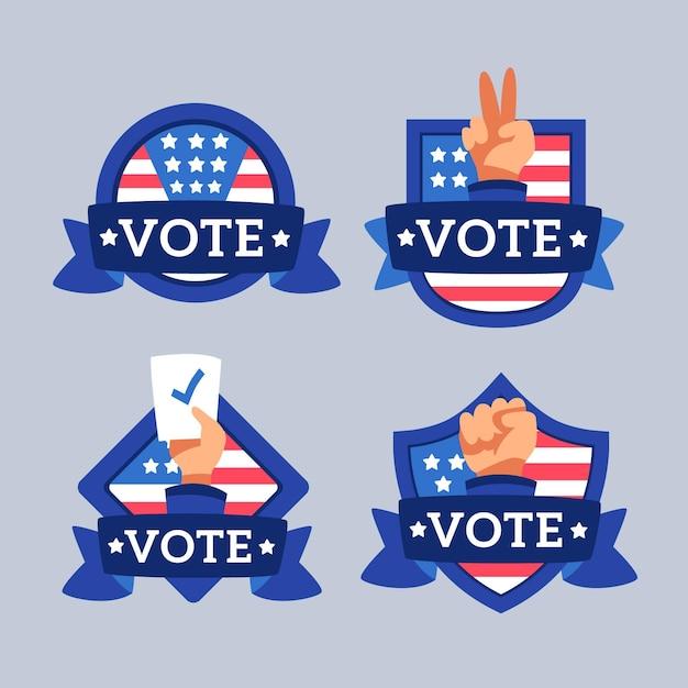 Verzameling van presidentiële stembadges Premium Vector
