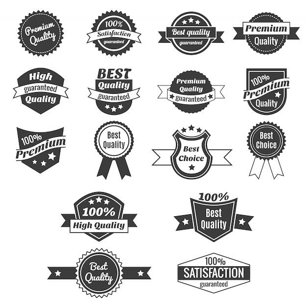 Verzameling van prijsetiketten en insignes van producten Gratis Vector
