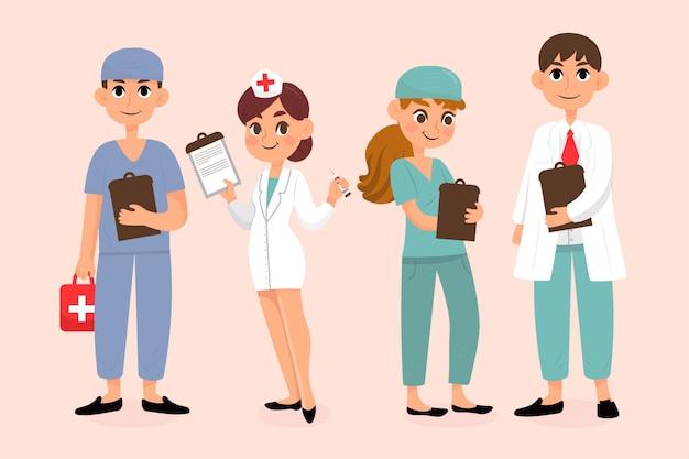 Verzameling van professionele gezondheidswerkers Gratis Vector