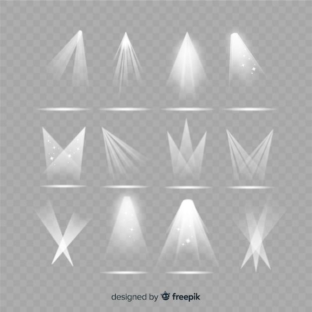 Verzameling van realistische schijnwerperverlichting Gratis Vector