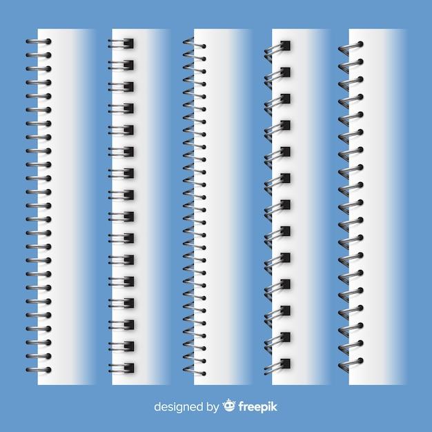 Verzameling van realistische spiralen voor notebook Gratis Vector