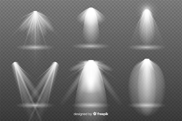 Verzameling van realistische uitbarstingen van licht Gratis Vector
