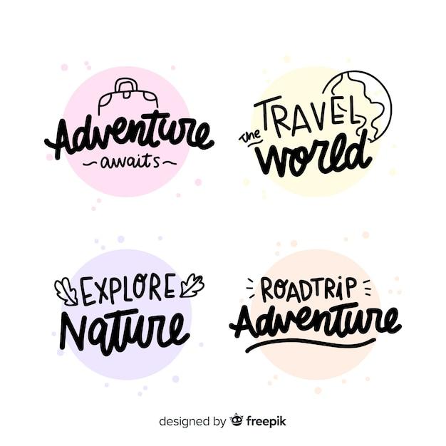 Verzameling van reizen belettering badges Gratis Vector