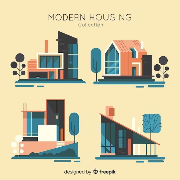 Verzameling van residentiële huizen Gratis Vector