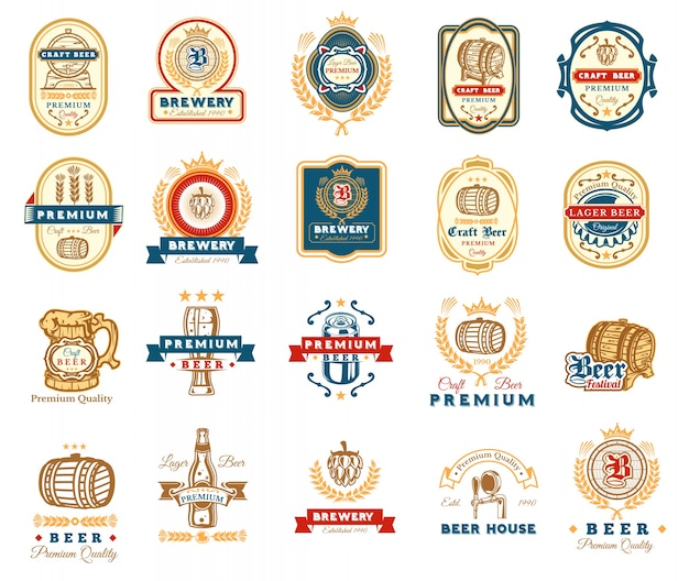 Verzameling van retro bier emblemen, badges, stickers Gratis Vector
