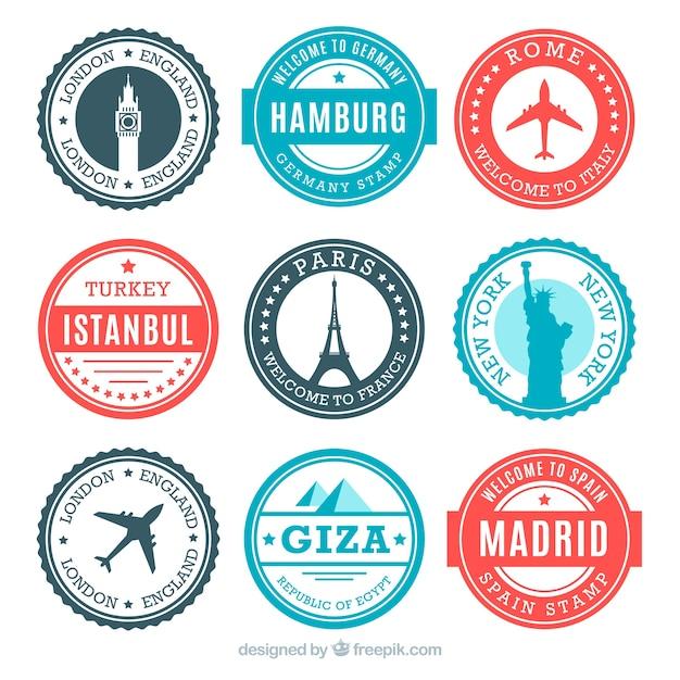 Verzameling van ronde postzegels met monumenten Gratis Vector