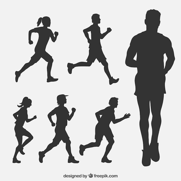Verzameling van runners silhouetten Gratis Vector