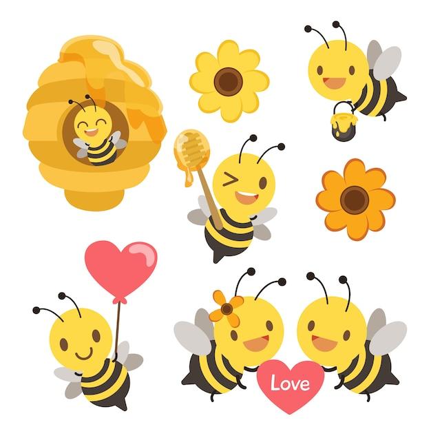 Verzameling van schattige bijen in elke actieset Premium Vector