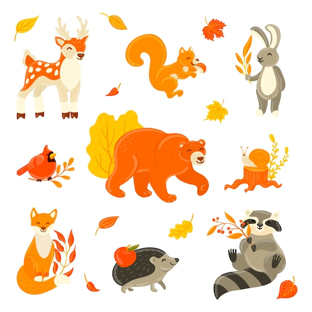 Verzameling van schattige dieren in het bos Gratis Vector