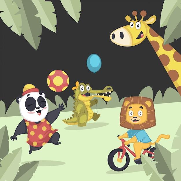 Verzameling van schattige dieren samen spelen in de speeltuin Premium Vector