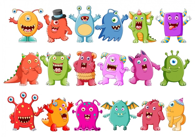 Verzameling van schattige karakter monsters Premium Vector