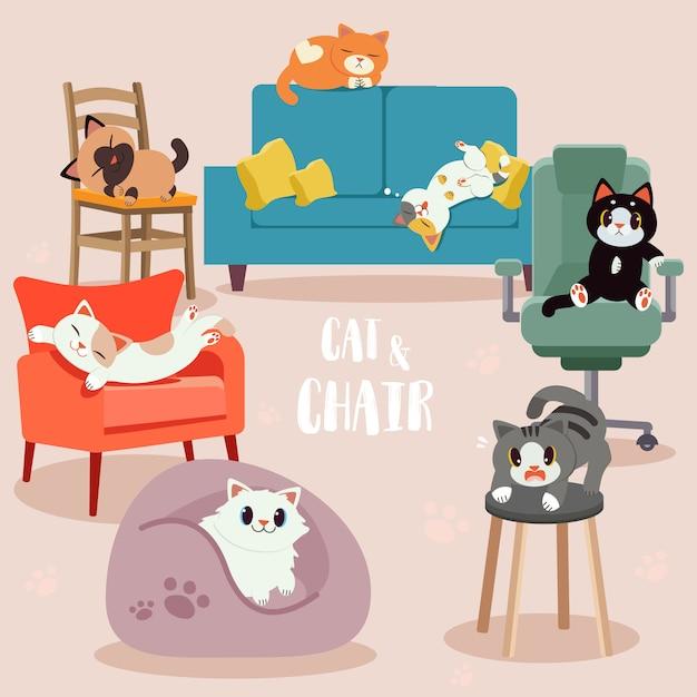Verzameling van schattige katten met de stoel pack. sommige katten zien er blij, eng en ontspannend uit. Premium Vector