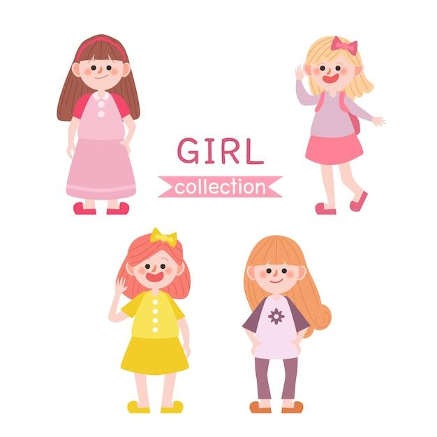 Verzameling van schattige meisjes. terug naar schoolkinderen. Premium Vector