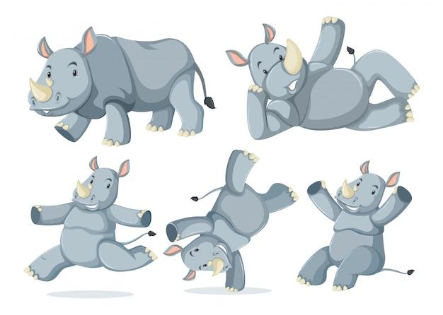 Verzameling van schattige neushoorns Gratis Vector