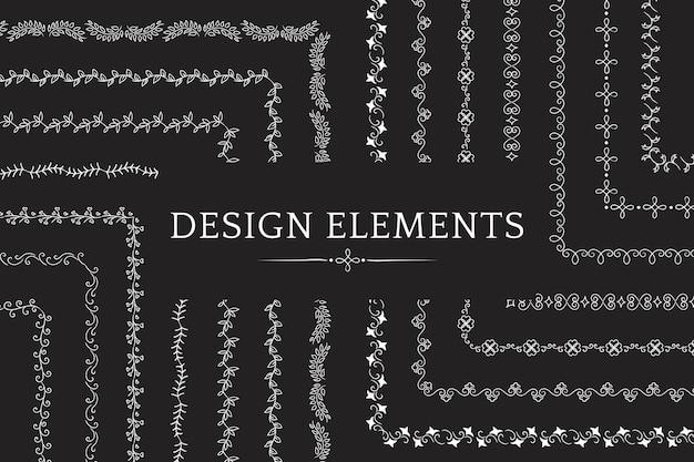 Verzameling van scheidingslijn ontwerp element vectoren Gratis Vector