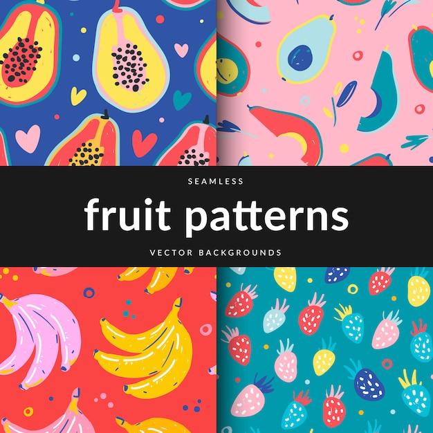 Verzameling van seamlesspatterns met verschillende vruchten Premium Vector