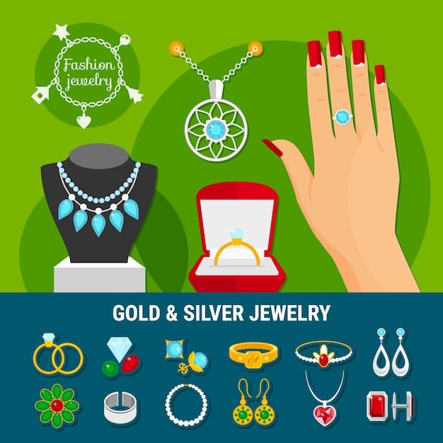 Verzameling van sieraden iconen met mode gouden en zilveren ringen, oorbellen, broche, studs, armbanden geïsoleerd Gratis Vector