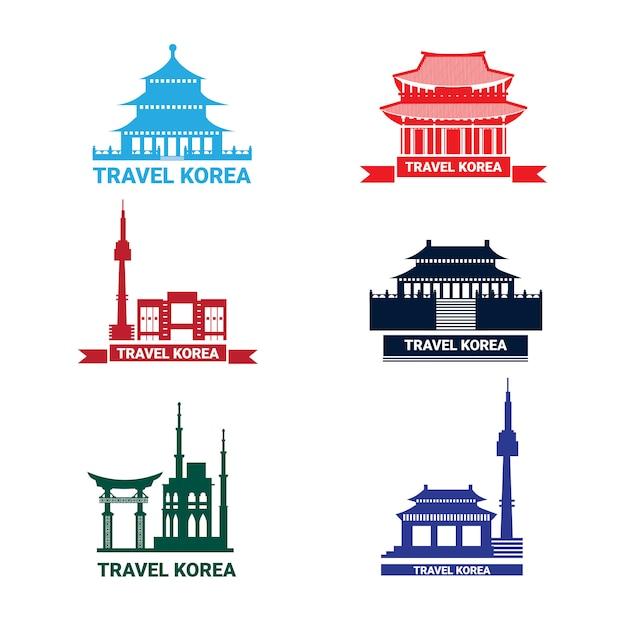 Verzameling van silhouette seoul bezienswaardigheden zuid-koreaanse paleis en tempel Premium Vector