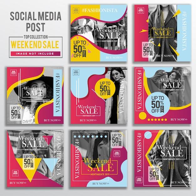 Verzameling van sociale media bericht ontwerpsjabloon Premium Vector
