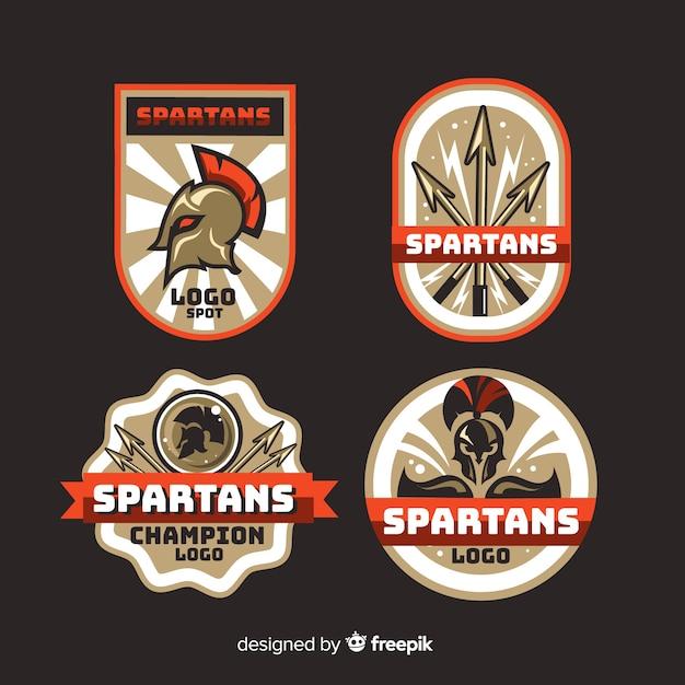 Verzameling van spartaanse badges Gratis Vector