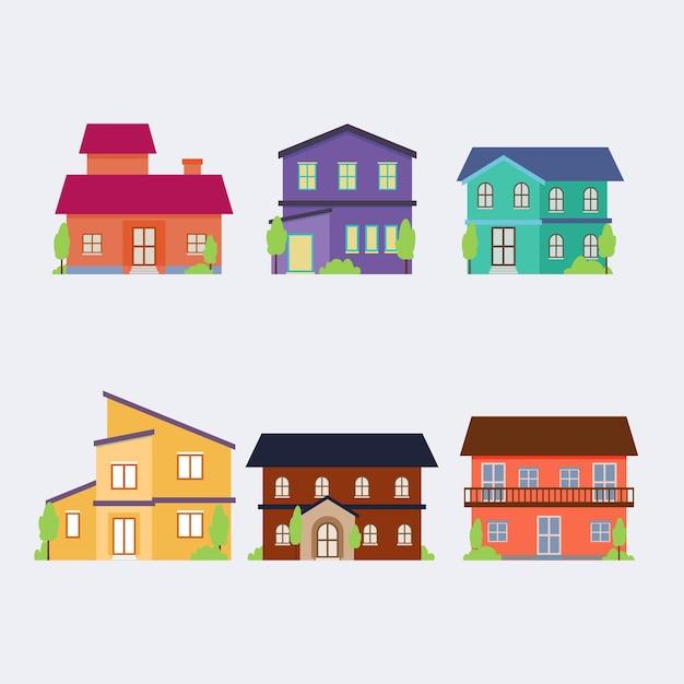 Verzameling van stedelijke gekleurde huizen Gratis Vector
