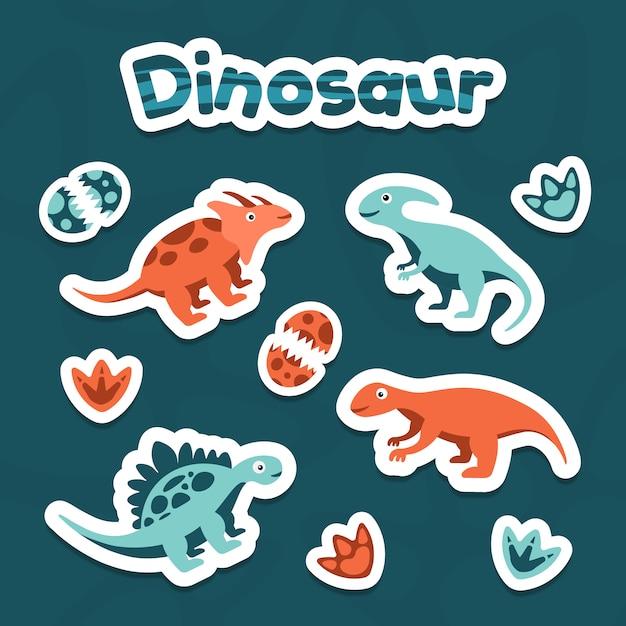 Verzameling van sticker clipart schattige dinosaurus vector Premium Vector
