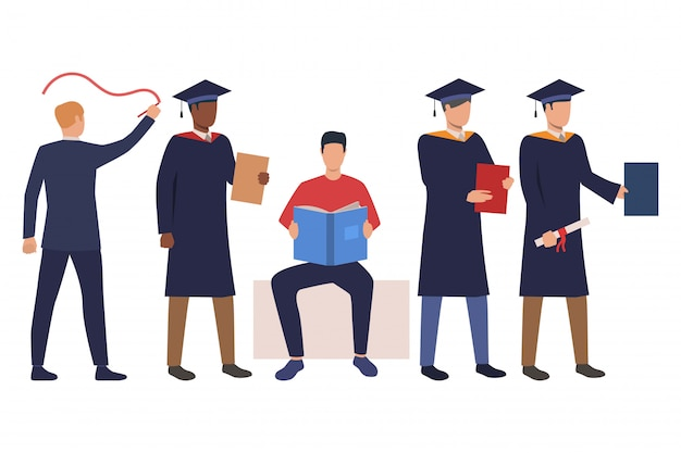 Verzameling van succesvolle studenten in academische jurken Gratis Vector