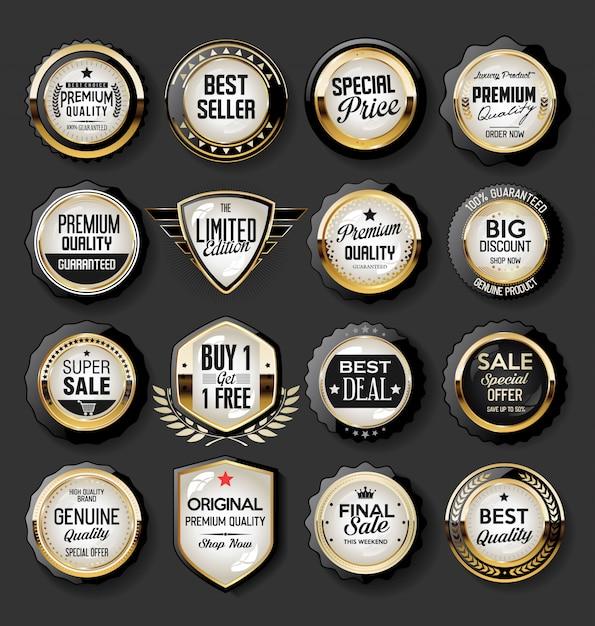 Verzameling van super verkoop en prijs badge en labels Premium Vector