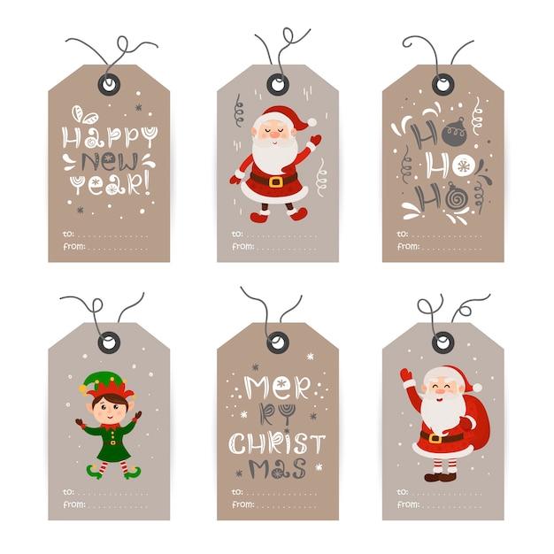 Verzameling van tags met kerstman, kabouters en vakantiewensen. afdrukbare kaartsjablonen. Premium Vector
