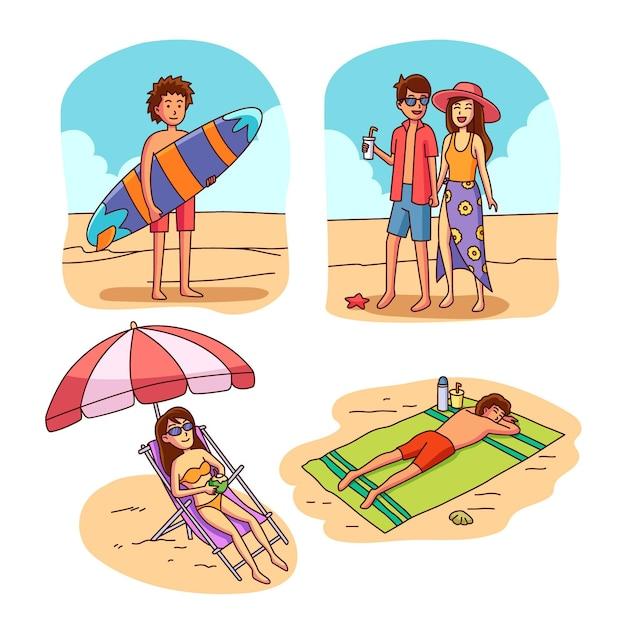 Verzameling van tieners op het strand Gratis Vector