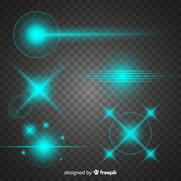 Verzameling van turquoise technologie lichteffecten Gratis Vector