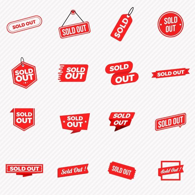 Verzameling van uitverkocht banners, etiketten, stempels en tekens Premium Vector