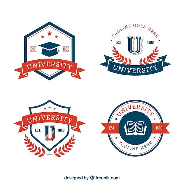 Verzameling van universitaire badges Gratis Vector