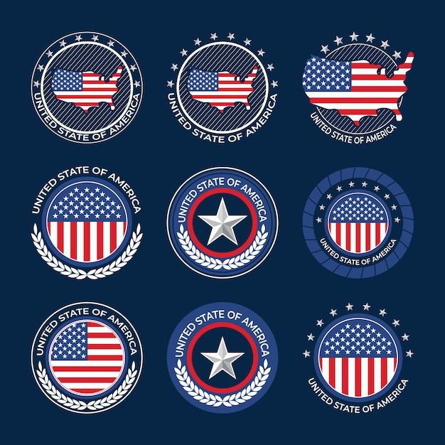 Verzameling van usa onafhankelijkheidsdag badges Premium Vector