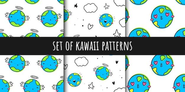 Verzameling van vector naadloze patronen in de stijl van kawaii Premium Vector