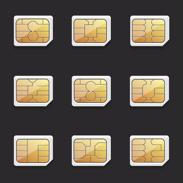 Verzameling van vectorafbeeldingen van nano-simkaarten met verschillende fiches Premium Vector