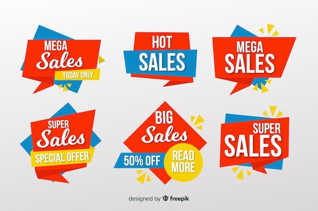 Verzameling van verkoop banners origami stijl Gratis Vector