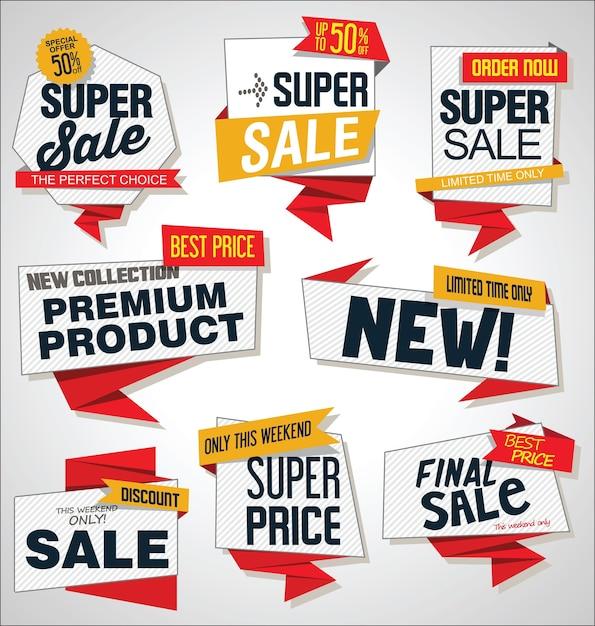Verzameling van verkoopkorting en promotiebanners en labels Premium Vector
