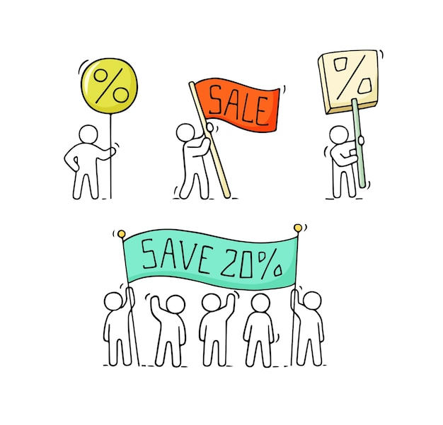 Verzameling van verkooppictogrammen Premium Vector