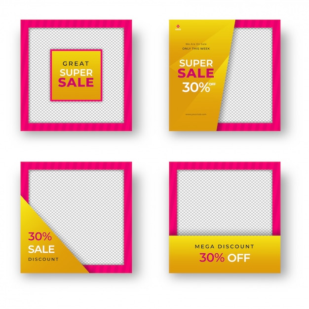 Verzameling van verkoopsjabloon of posterontwerp met verschillende schijf Premium Vector